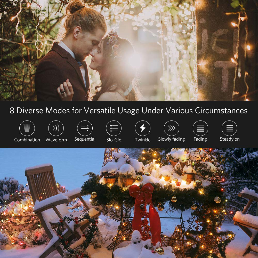 amazoncom meeqee string lights 33ft 100 led indoor christmas string light with 8 modes memory function low voltage plug for homes christmas tree