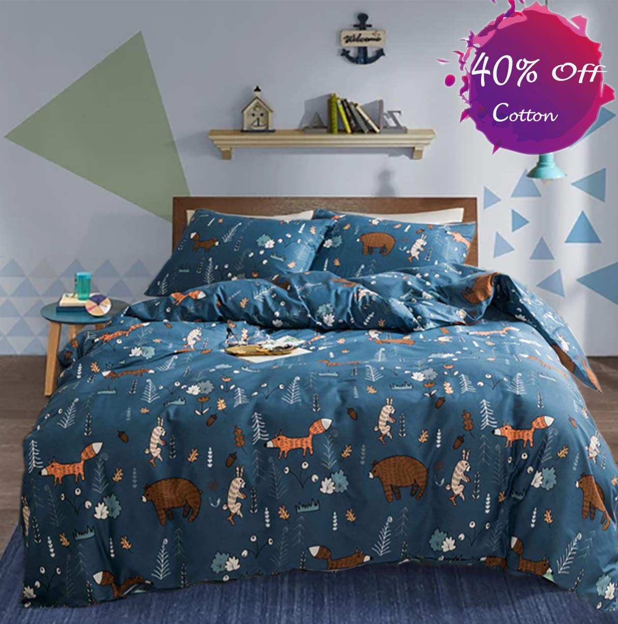 karever Cartoon Kids Duvet Cover Sets Queen Cotton Animal Forest Theme Bedding Set Full Bear Rabbit Plant Woodland Pattern Printed on Navy Blue Comforter Cover Set for Boys Girls
