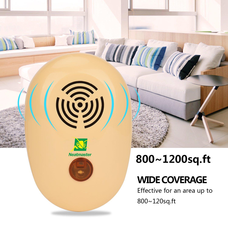 neatmaster Ultrasonic Pest ahuyentador electrónico Control de plagas enchufe en repelente de plagas de insectos, mosquitos, ratón, Bugs, pulgas, ...