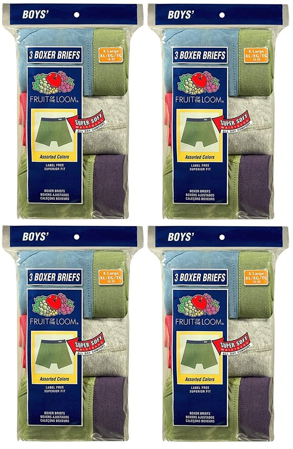 Fruit of the Loom 12Pack Boys Assorted ComfortSoft Boxer Briefs Underwear XL