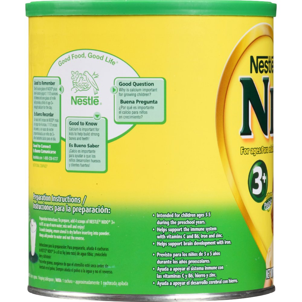 Amazon.com : Nestle NIDO 3+ Powdered Milk Beverage 1.76 lb Canister : Grocery & Gourmet Food