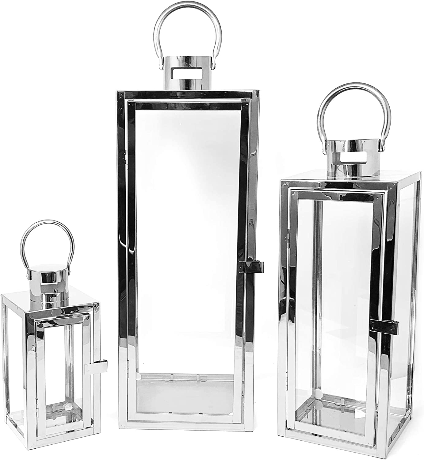 allgala 3-PC Set Jumbo Luxury Modern Indoor/Outdoor Hurricane Candle Lantern Set with Chrome Plated Structure and Tempered Glass-Cuboid Silver-HD88012