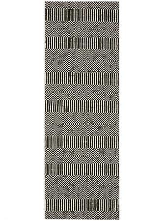 Benuta Teppich Laufer Sloan Wolle Baumwolle Schwarz Weiss 80 X