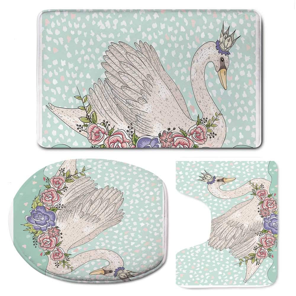 YOLIYANA Queen Soft Bathroom 3 Piece Mat Set,Cute Cartoon Swan on Water Crown Flowers Dreamy Fairytale Kids Playroom for Home,F:20'' W x31 H,O:14'' Wx18 H,U:20'' Wx16 H