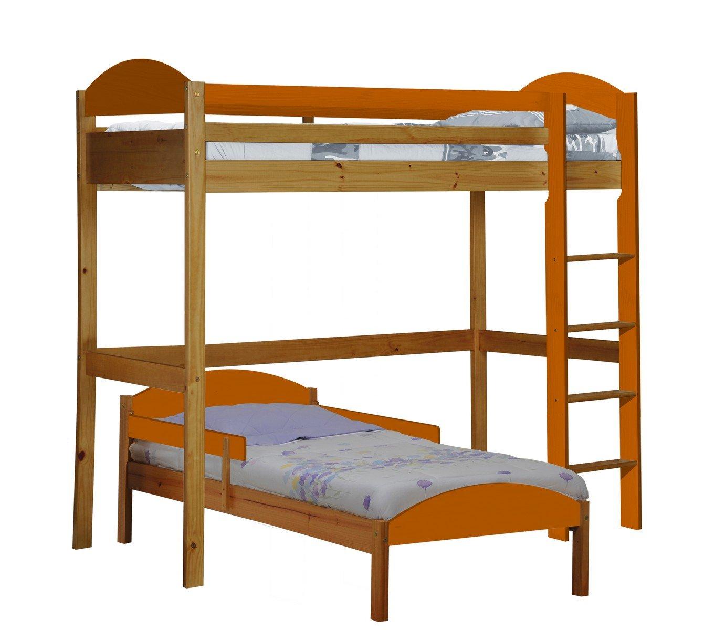 Design Vicenza Maximus L Form Hochbett, Holz, Kiefer antik mit Details in Orange, Single
