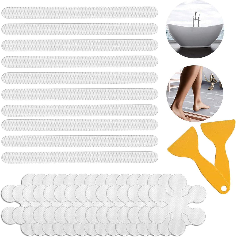 Safety Anti Slip Shower Stickers JHY Anti-slip Strips Bathtub Stickers Non Slip 44PCS Anti Skid Treads Tape for Shower,Tub,Steps Floor-Strength Adhesive Grip Appliques With 2Pcs Premium Scraper