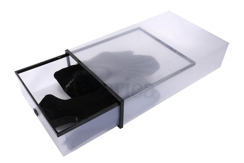 Periea Zapatero apilable y Resistente de plástico con embellecedores de Color Negro (5 cajones): Amazon.es: Hogar