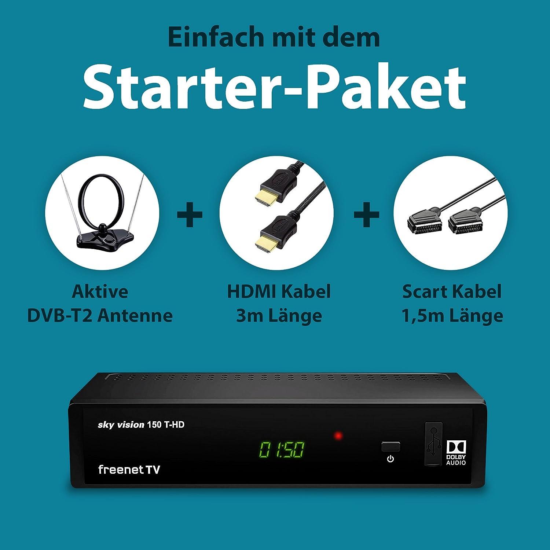 sky vision Set DVB-T2 con Receptor HD, Antena de habitación, Cable HDMI y Cable SCART (Receptor de Antena Digital, TV Libre, decodificador HEVC ...