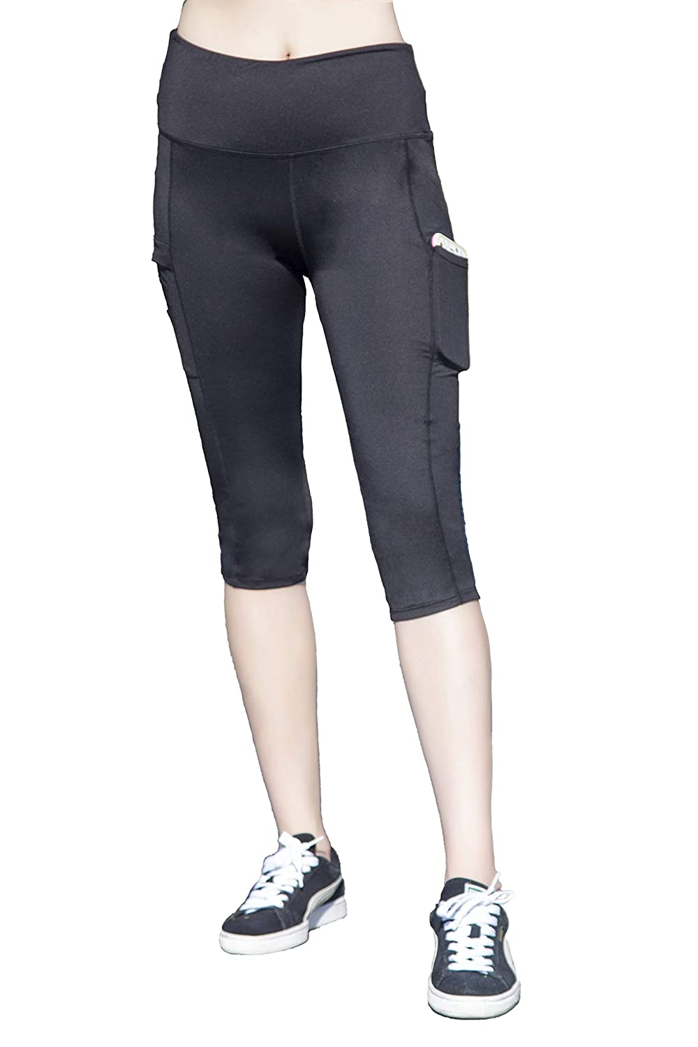 b5a9ba459e7b7f 90%Polyester/10%Spandex single jersey in Black and Mel. grey solid color.  High Waist yoga pants for women with pocket with cover