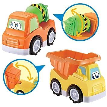 deAO Camiones de Construcción Juguetes de Playa Camión Volquete y Camión Hormigonera Conjunto de Dos Camiones