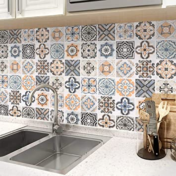Oxdigi Peel and Stick Wallpaper for Kitchen Backsplash Shelf Liner  Staircase Moroccan Tile Graphic Pattern Self Adhesive Wallpaper Decorative  ...