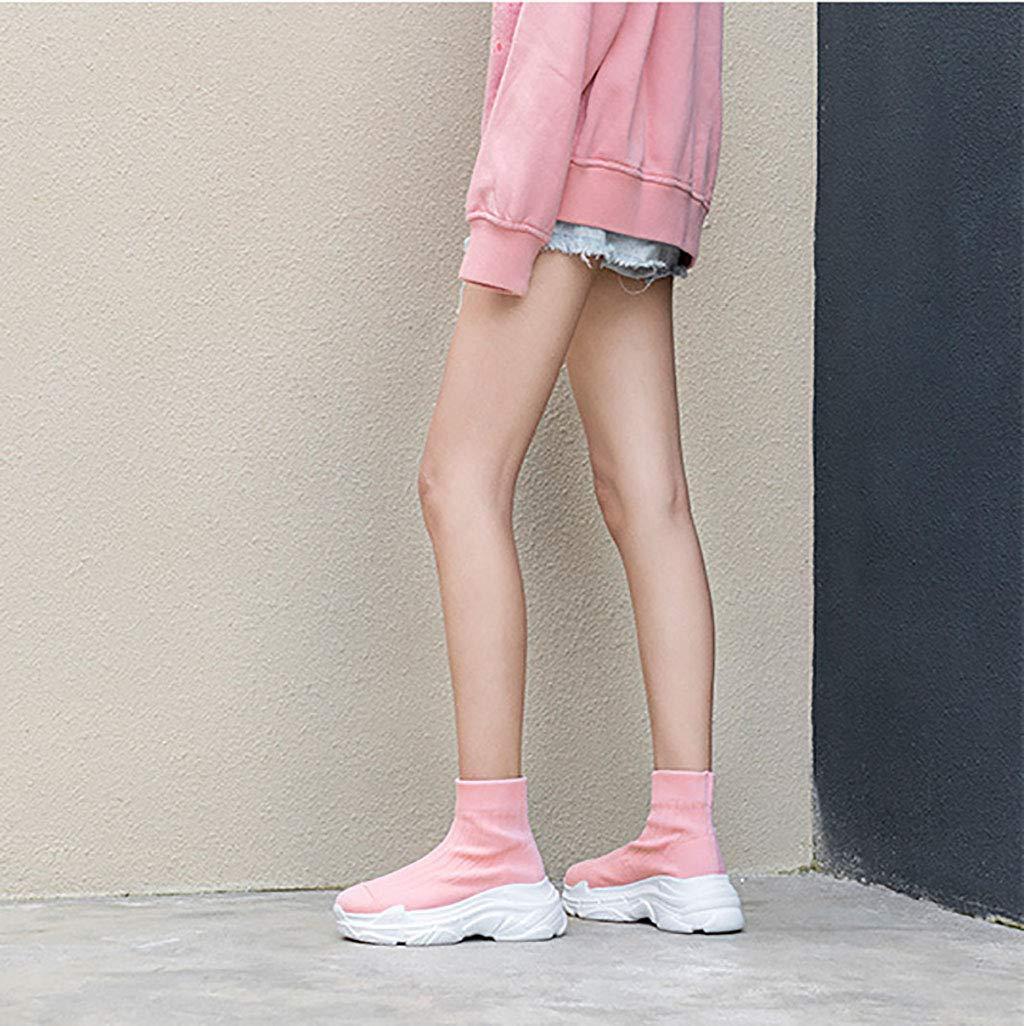 HRN HRN HRN Botines de Mujer Cabeza Redonda Muffin de tacón Alto Calcetines de Punto de Lana Botas Manga Color Caramelo Botines elásticos,Pink,38EU 300ddf
