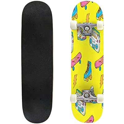 Classic Concave Skateboard Vintage Theme Background with Sneakers Radio Skateboard and Roller Longboard Maple Deck Extreme Sports and Outdoors Double Kick Trick for Beginners and Professionals : Sports & Outdoors