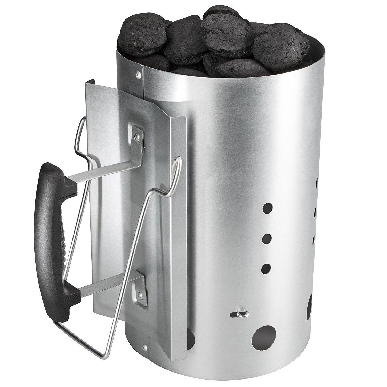 Stufa a legna per barbecue con manico di sicurezza Acciaio legato a carbone Colonna di masterizzazione 30cm H & 19CM DIA Bar.b.q.s