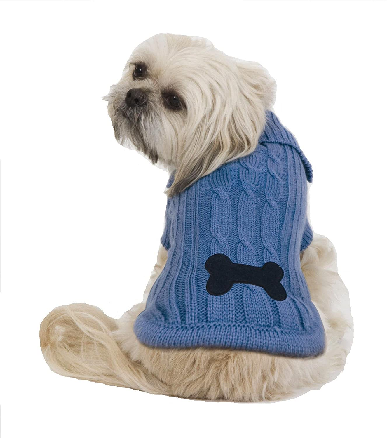 Amazon.com : Fashion Pet Bone Patch Xtra-Small Cable Dog Sweater ...