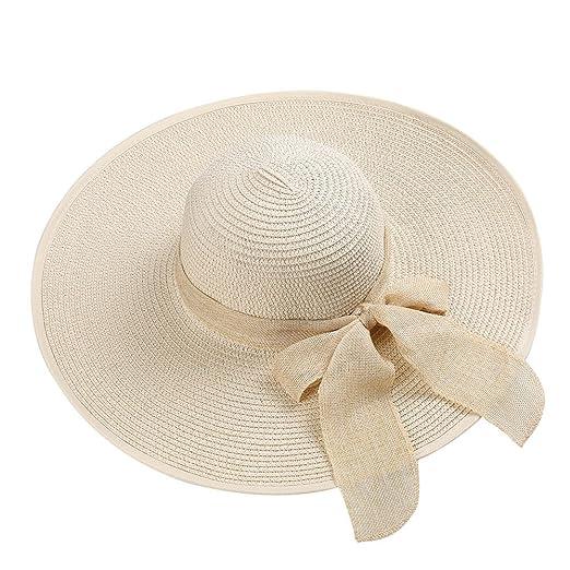 3c2af811 Opromo Women's Beachwear Sun Hat Striped Straw Hat Foldable Floppy Big Brim  Hat-Style B