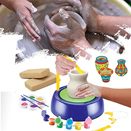 DIY Educational Toy Christmas Birthday Gift for Boys Girls Ceramic Machine with Clay for Beginners Pottery Studio Studio Clay Craft Kit Pottery Wheel for Kids Pottery Wheel Kit