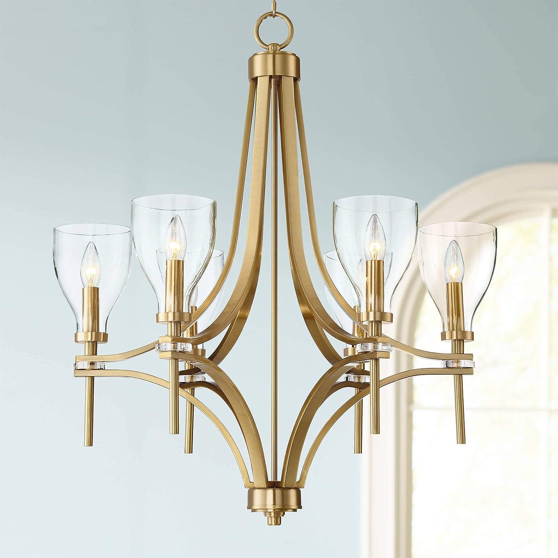 Hex 26 1 2 wide warm antique brass 6 light chandelier barnes and ivy