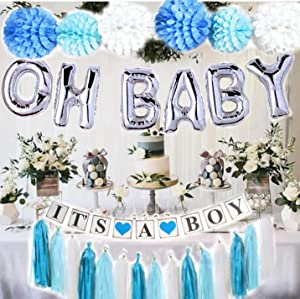 Baby Shower Decorations for Boy| OH BABY letters balloons| 6 pompoms| It's a Boy Banner| Blue Tasells| Blue Silver and Grey Baby Shower| Party Decorations| Blue backdrop|Centerpiece
