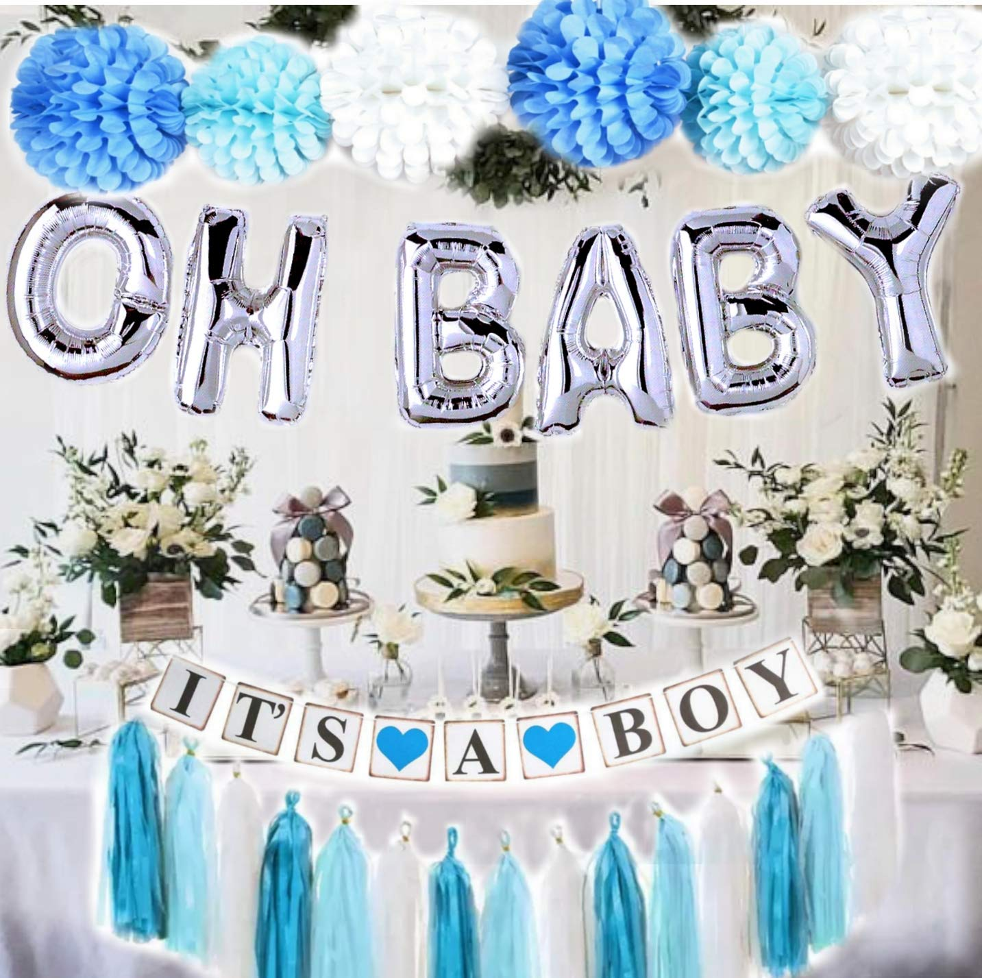 Baby Shower Decorations for Boy  OH BABY letters balloons  6 pompoms  It's a Boy Banner  Blue Tasells  Blue Silver and Grey Baby Shower  Party Decorations  Blue backdrop Centerpiece by Gogoshel