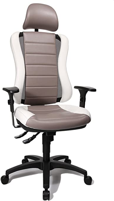 Topstar He30ps033x Head Point Rs Sy Chaise De Bureau Avec Tetiere Gris Blanc 47 X 50 X 150 Cm Amazon Fr Cuisine Maison