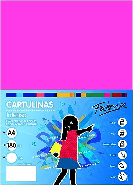 Pack 100 Cartulinas Color Fucsia Tamaño A4 180g: Amazon.es: Oficina y papelería