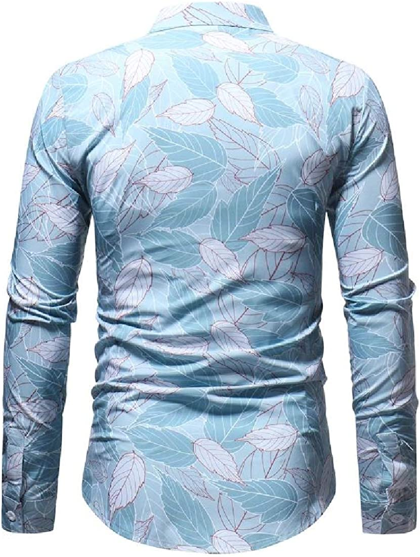 Whitive Men Printing Botton Front Fit No-Iron Oversized Dress Shirt Tops