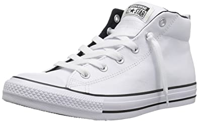 54019ac7a2e6 Converse Men s Street Leather Mid Top Sneaker White Black 14 ...