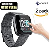 ACUTAS Round Edged Tempered Glass Screen Protector for Fitbit Versa (Transparent) -Pack of 2