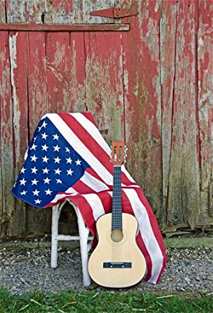 AOFOTO 6x8ft Acoustic Guitar Leaning On Chair Backdrop Patriotic American Flag Photography Background Country Music Folk