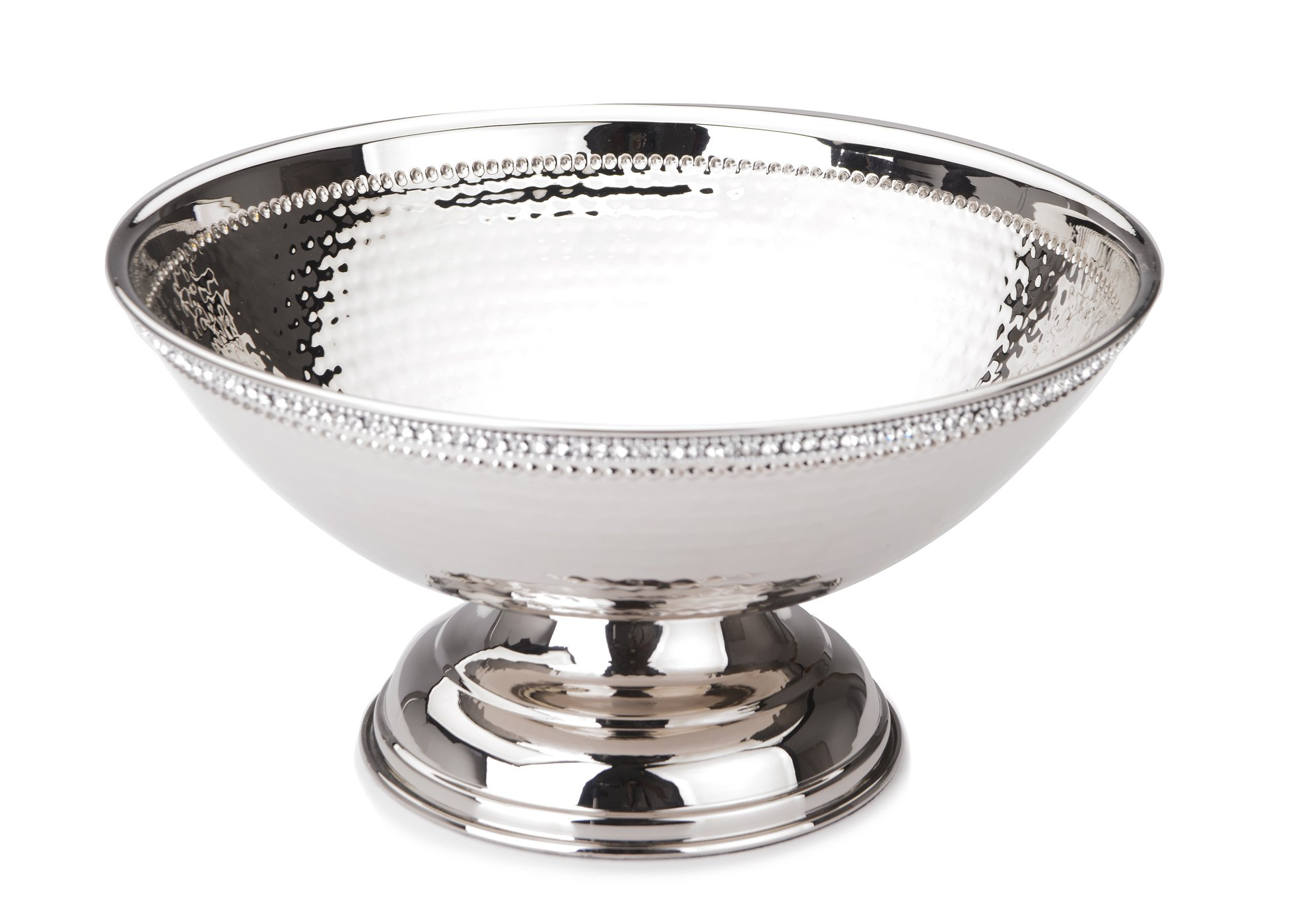 Classic Touch SDB130 Hammered Stainless Steel Footed Salad Bowl, Trimmed with Exquisite Diamonds