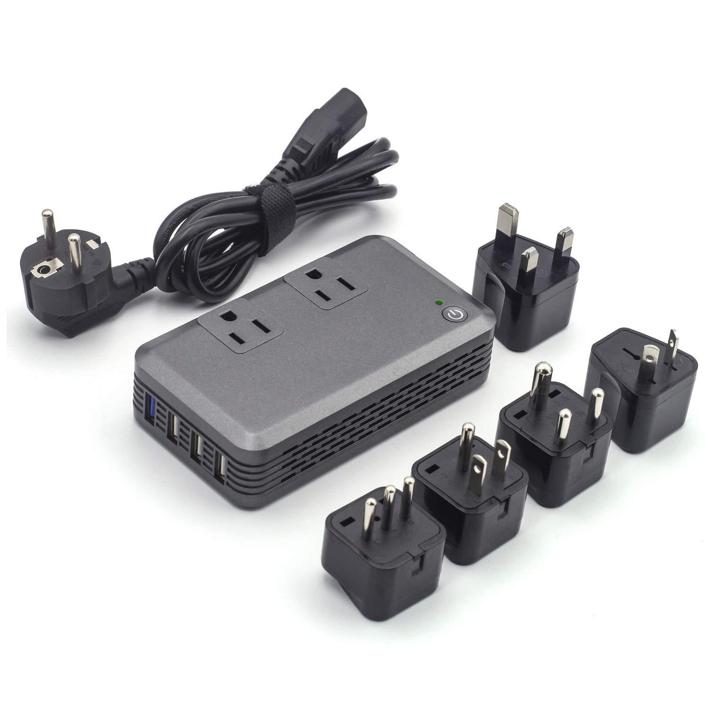 Power Converter Adapter Combo for International Travel, 2000-Watt Step Down 220V to 110V Voltage Converter for Hair Straightener, Laptop Computer, Smoothie Blender - [Use for US Appliance Overseas]