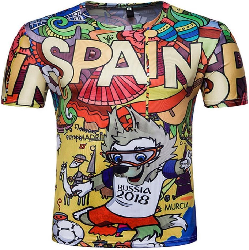 Alissne Camiseta FIFA Copa del Mundo 2018 Rusia Camisetas Equipo de España Deportiva de Manga Corta de Fútbol Edición Conmemorativa de Fanáticos (Coloreado, L): Amazon.es: Deportes y aire libre