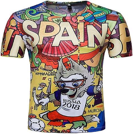 Alissne Camiseta FIFA Copa del Mundo 2018 Camisetas Equipo de España Deportiva de Manga Corta de Fútbol Edición Conmemorativa de Fanáticos (Coloreado, XL): Amazon.es: Deportes y aire libre