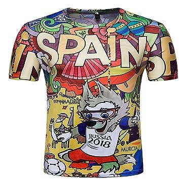 Alissne Camiseta FIFA Copa del Mundo 2018 Camisetas Equipo de España Deportiva de Manga Corta de Fútbol Edición Conmemorativa de Fanáticos (Coloreado, ...