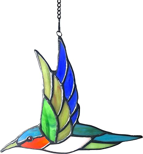 Alivagar Stained Glass Humming Bird Window Hanging Sun Catcher, 6 1 2 x 5 1 2