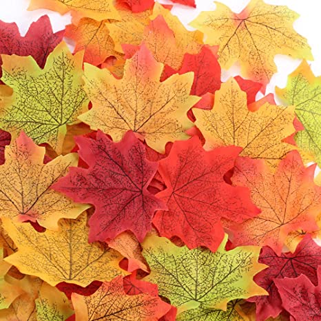 300 Pieces Artificial Maple Leaves Fall Leaves with 50 Pieces Artificial Acorns for Autumn Fall Party Decorations Thanksgiving Day Decorations FEPITO 350 PCS Autumn Table Decorations Scatters Set