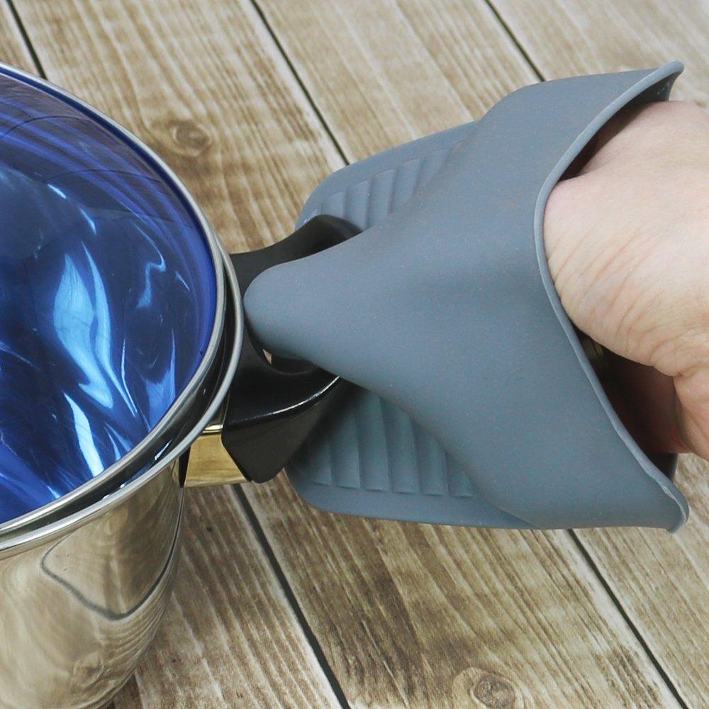 COM-FOUR/® 2x gant de protection thermique en silicone gris 02 pi/èces gants de cuisine jusqu/à 200 /° C r/ésistant /à la chaleur avec profil antid/érapant