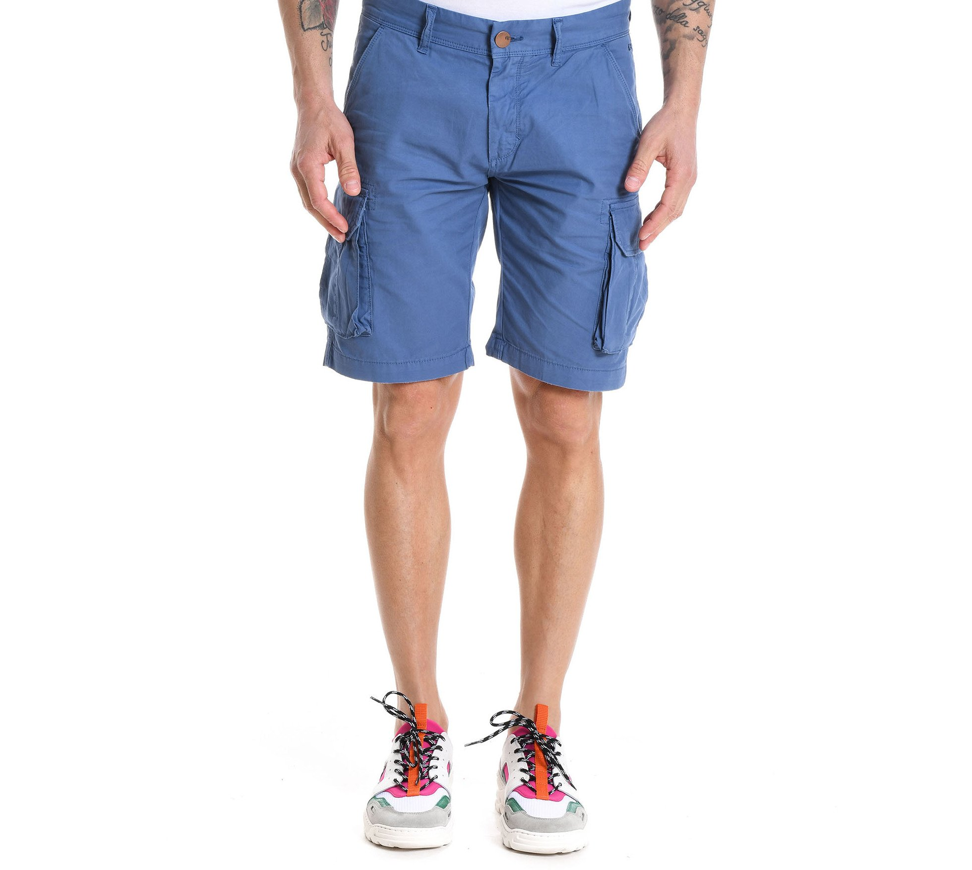 SUN 68 Men's B1810681 Blue Cotton Shorts