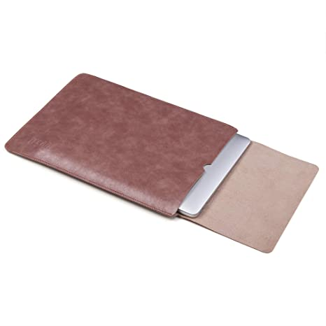 Tecool Funda de Cuero Microfibra PU Resistente al Agua,Bolsa para portátil Maletín Leather Cover