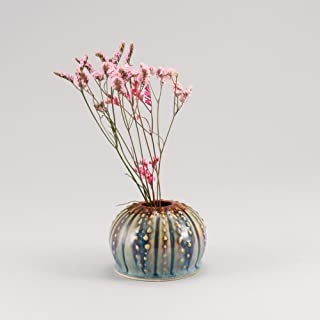 product image for Georgetown Pottery Handmade Sea Urchin Ikebana Vase, Bud Vase, Air Plant Pot, Candlestick Holder, Hamada and Purple, Made in USA, Porcelain Ceramic