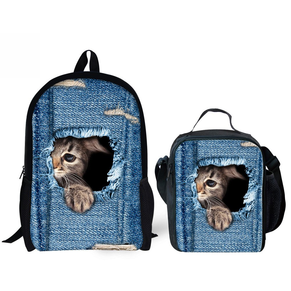 HUGS IDEA Kitten Cat Printing School Backpack Kids Schoolbag with Lunch Bag by HUGS IDEA (Image #1)