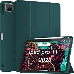 Soke Case for New iPad Pro 11 Inch 2020 & 2018 with Pencil Holder - Lightweight Smart Soft Cover [Supports Apple Pencil 2 Wireless Charging + Auto Wake/Sleep] (Teal)