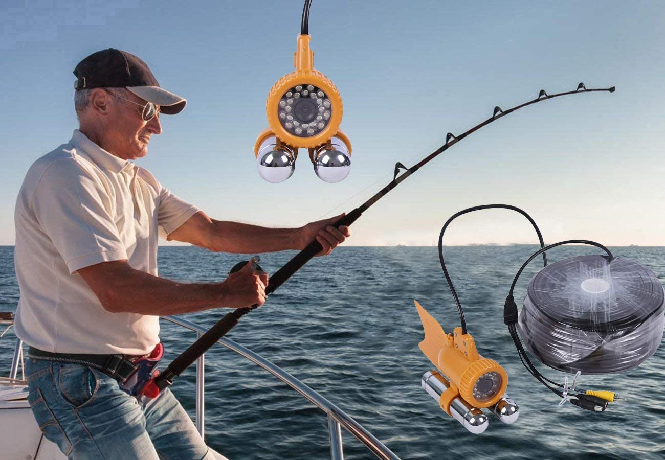 Vanxse Underwater Fishing Camera HD 1000TVL 24Pcs White LED 100 Degree View Fish Finder Video Camera 30Meters Cable