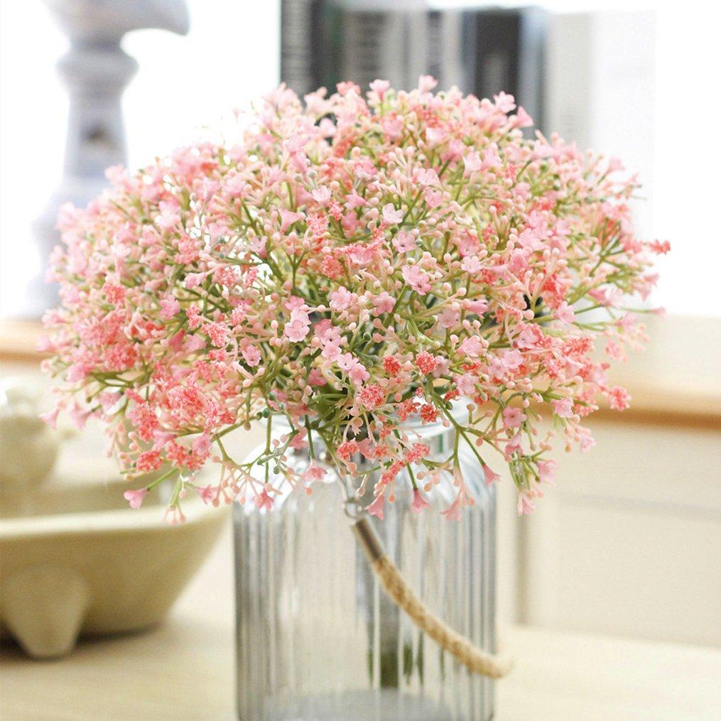 LaNnu 14pcsフェイクシルク人工Gypsophilaリアルタッチ花植物ウェディングパーティーホームガーデン装飾DIYフラワー(ピンク) B07C6N22CB