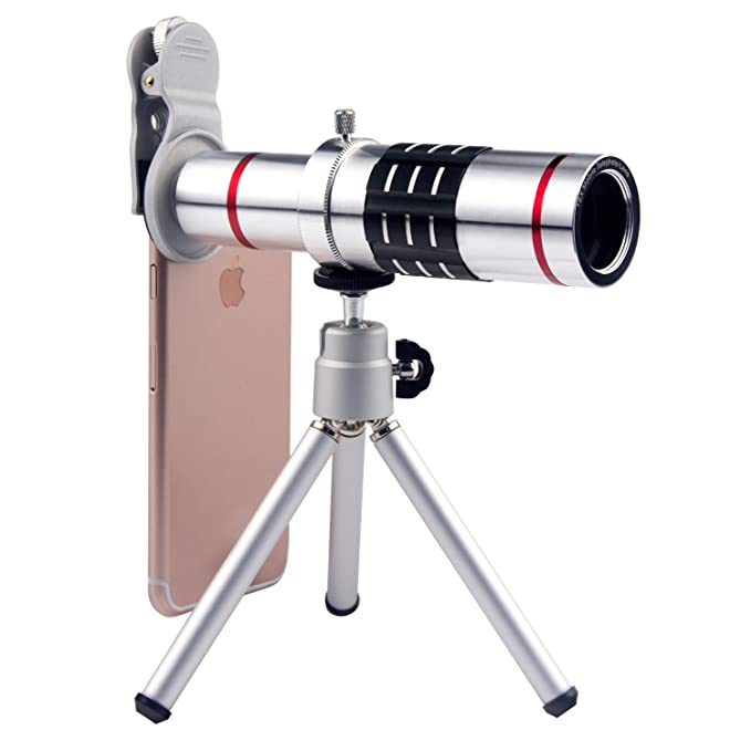 e754a2ac10a0 Amazon.com   Cell Phone Camera Lens 18X Telephoto Lens with Tripod and Clip  for iPhone Samsung Most Smartphones (Silver)   Camera   Photo