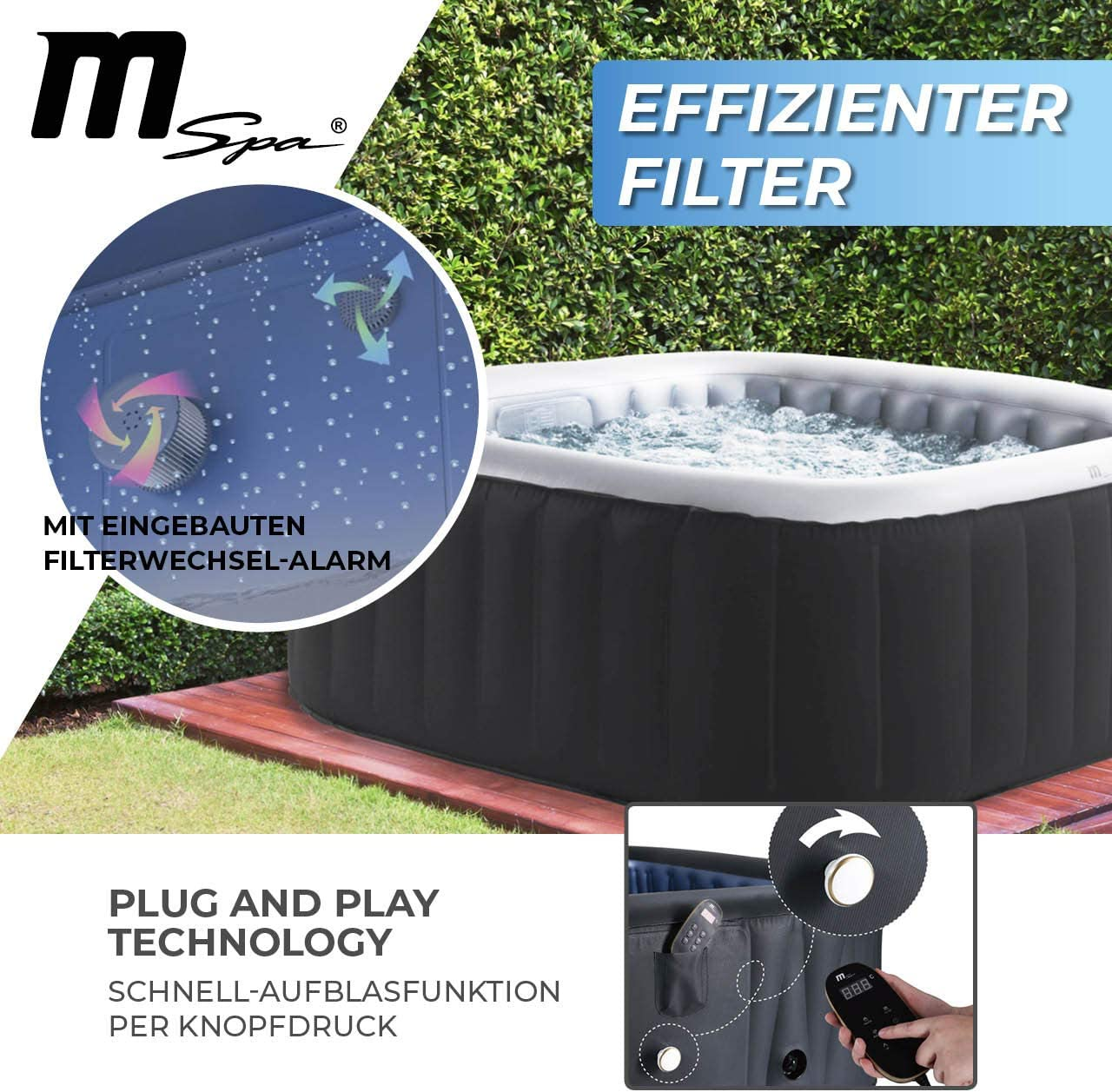 Miweba MSpa - Jacuzzi hinchable para exteriores, 6 personas, 132 boquillas, 185 x 185 cm, certificado TÜV GS, Alpine D-AL06, 930 litros: Amazon.es: Jardín