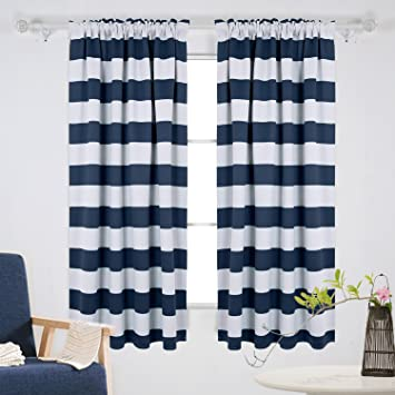 Deconovo Navy Blue Striped Blackout Curtains Rod Pocket Nautical Navy and  Greyish White Striped Curtains for