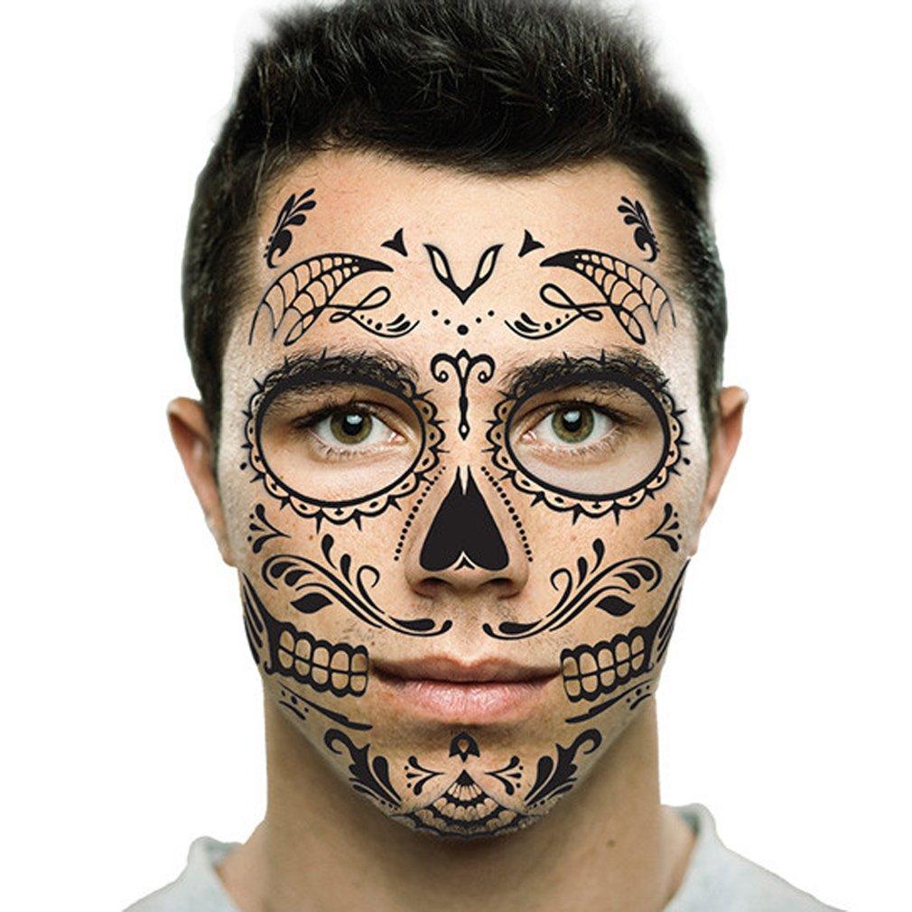 Amazon Com Black Web Sugar Skull Day Of The Dead Temporary Face