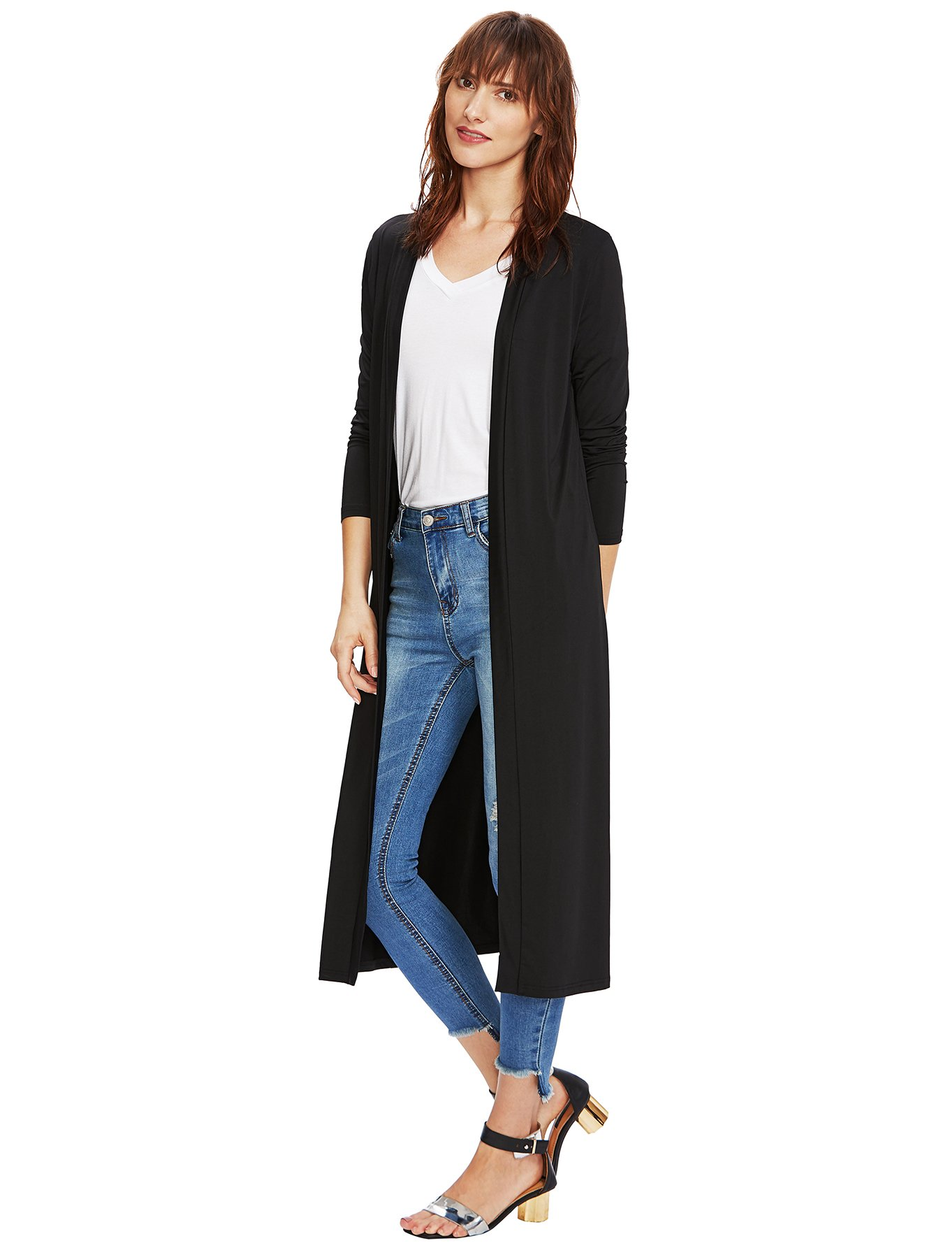 Verdusa Women's Long Sleeve Open Front Long Maxi Cardigan Longline Duster Coat Black M